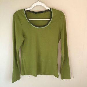 Boden Green w/ Brown Silk Neckline Long Slee…